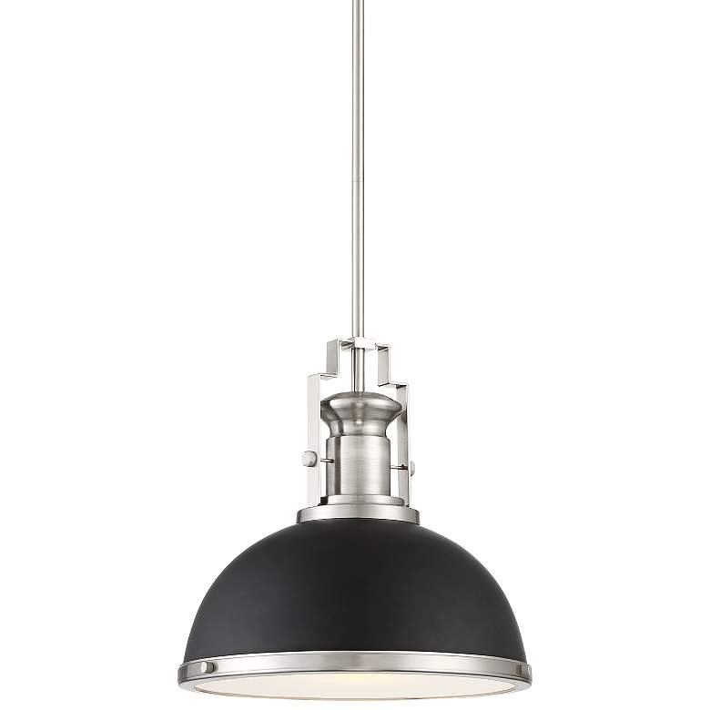 """Posey 13"""" Wide Black and Brushed Nickel Dome Pendant Light"""