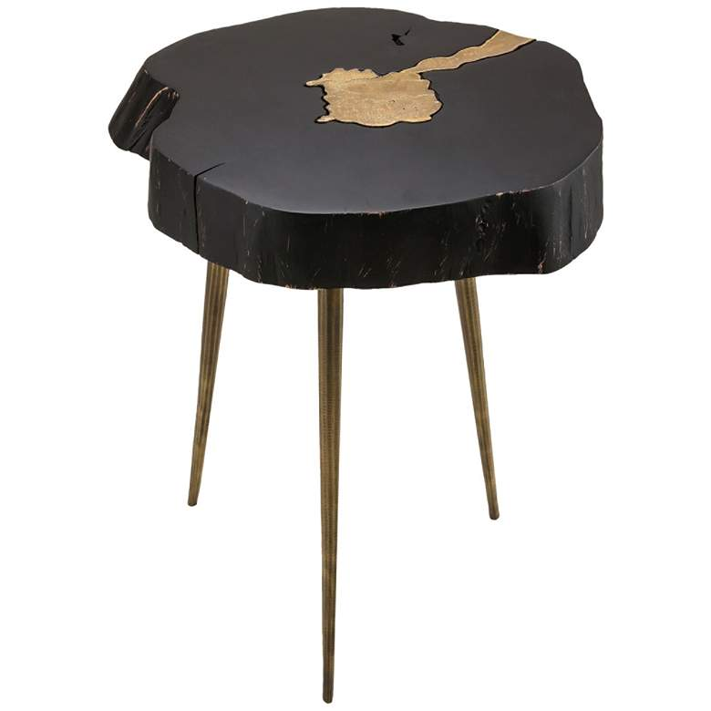 Timber Black and Brass Wooden Side Table