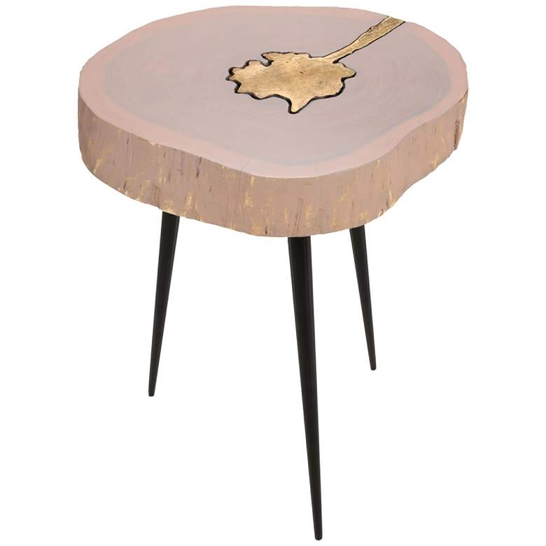 Timber Pink and Brass Wooden Side Table