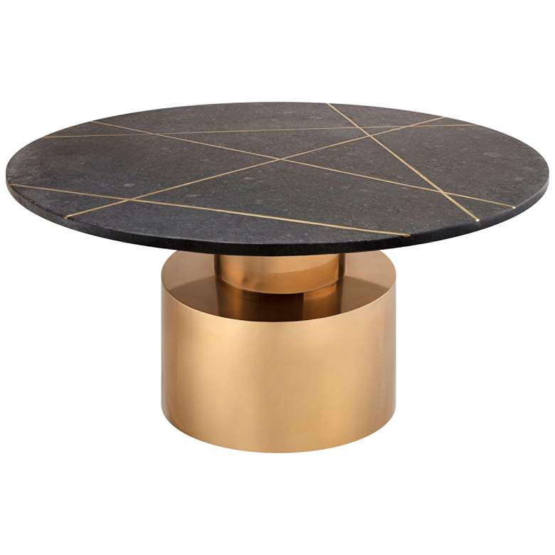 Terzo Black Geometric Marble Cocktail Table with Gold Base