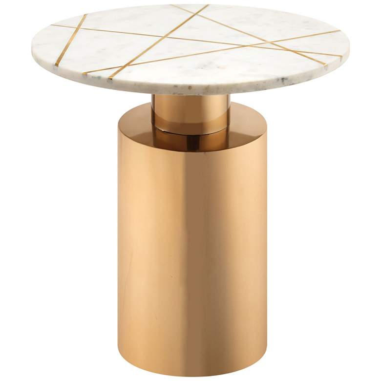 Terzo White Geometric Marble Side Table with Gold Base