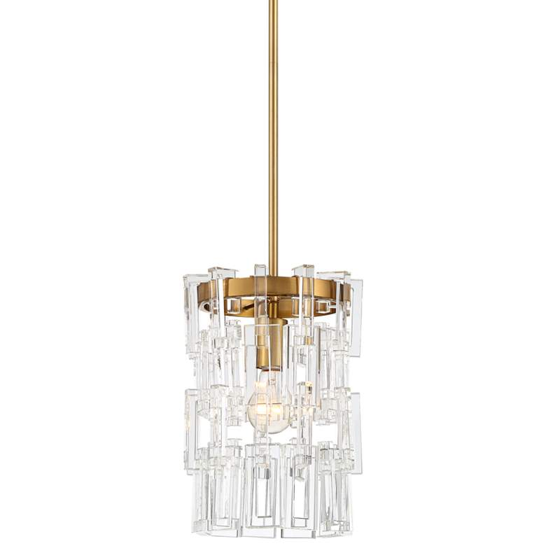 """Luxem 9 1/2"""" Wide Brass and Crystal Mini Pendant Light"""