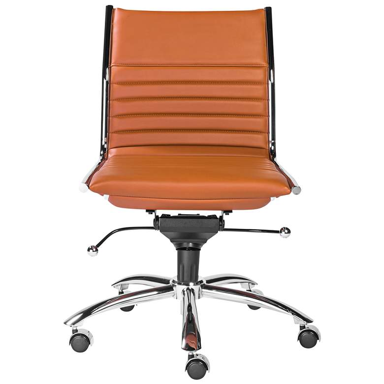 Dirk Cognac Leatherette Armless Low Back Office Chair