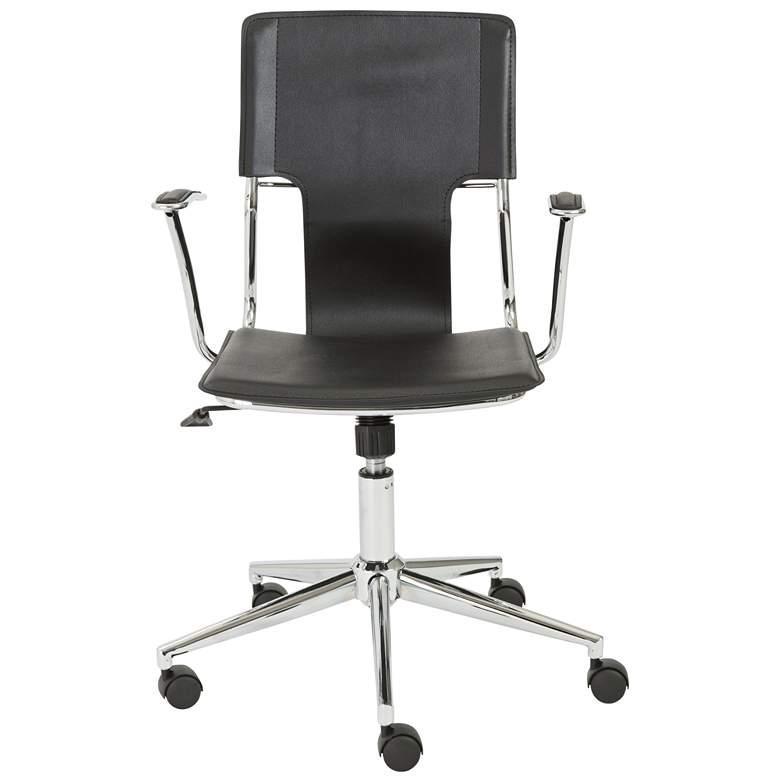 Terry Black Hard Leatherette Adjustable Swivel Office Chair
