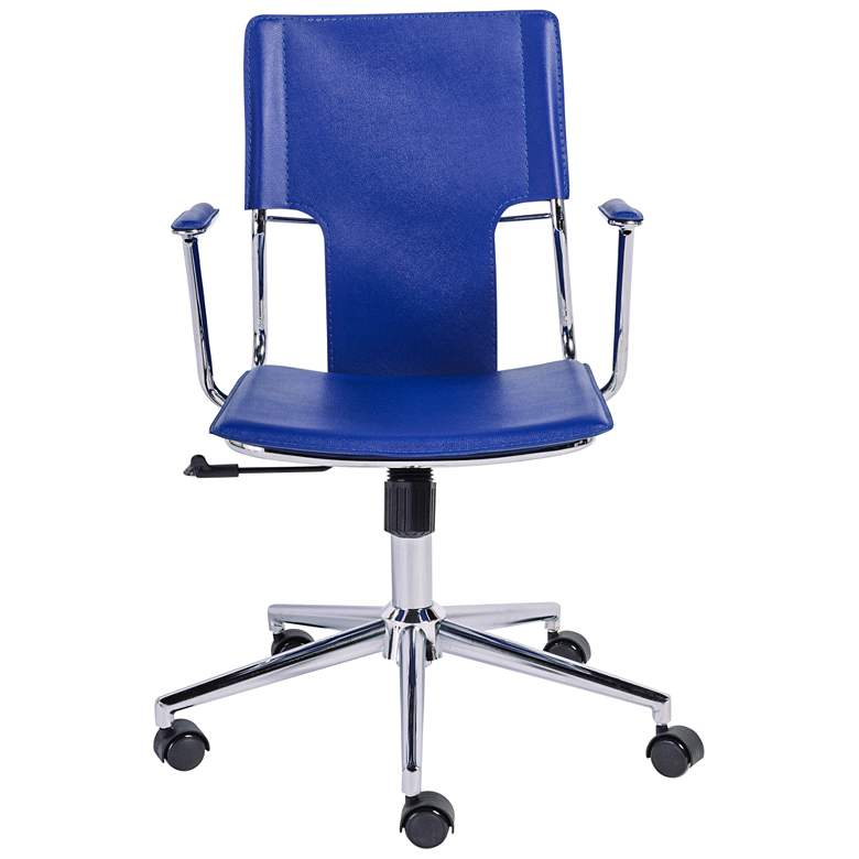Terry Blue Hard Leatherette Adjustable Swivel Office Chair