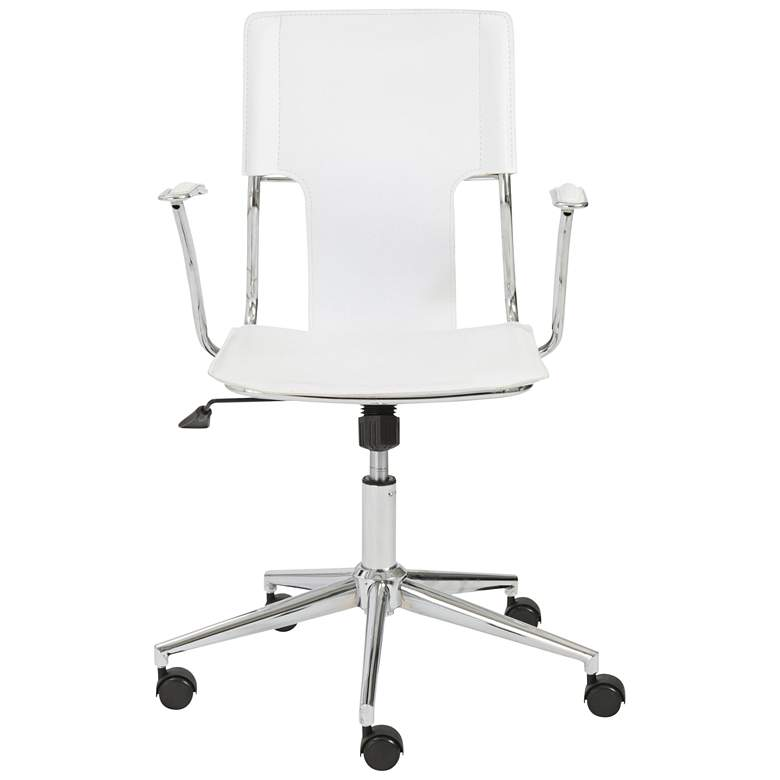 Terry White Hard Leatherette Adjustable Swivel Office Chair