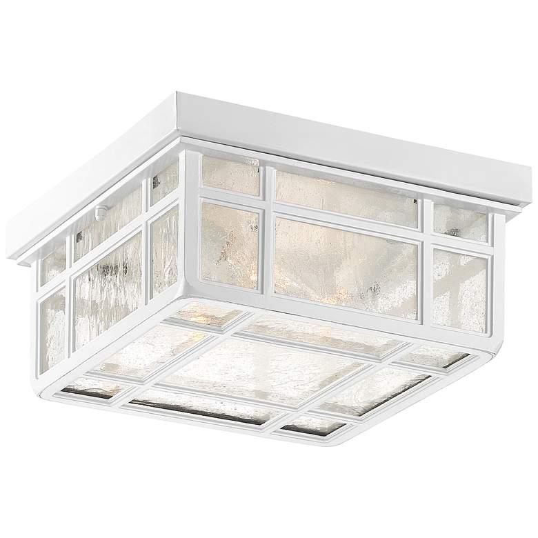 "J du J Sierra Craftsman 10 1/2""W White Outdoor Ceiling Light"