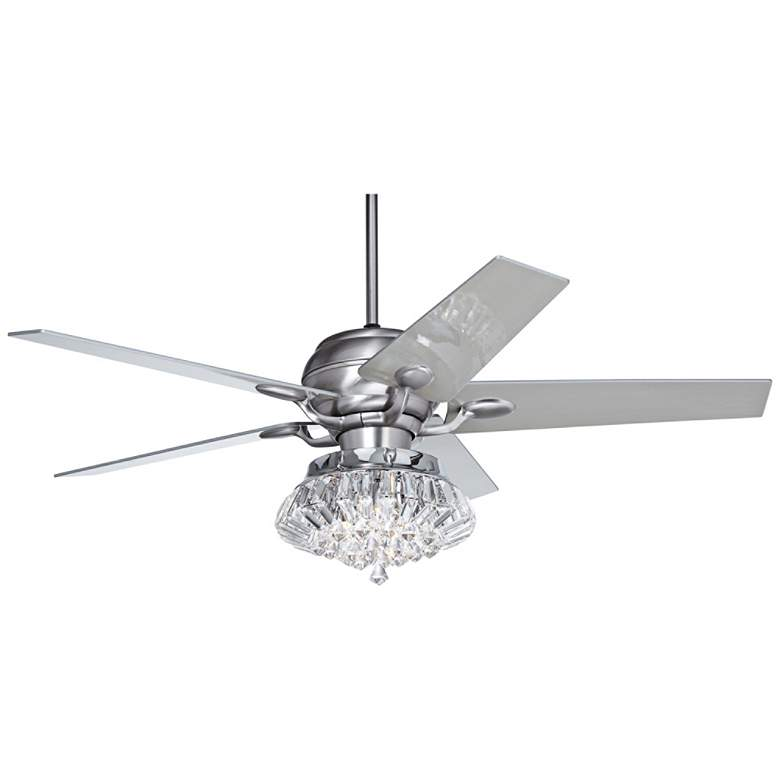 "52"" Casa Optima Deco Crystal Brushed Steel LED Ceiling Fan"