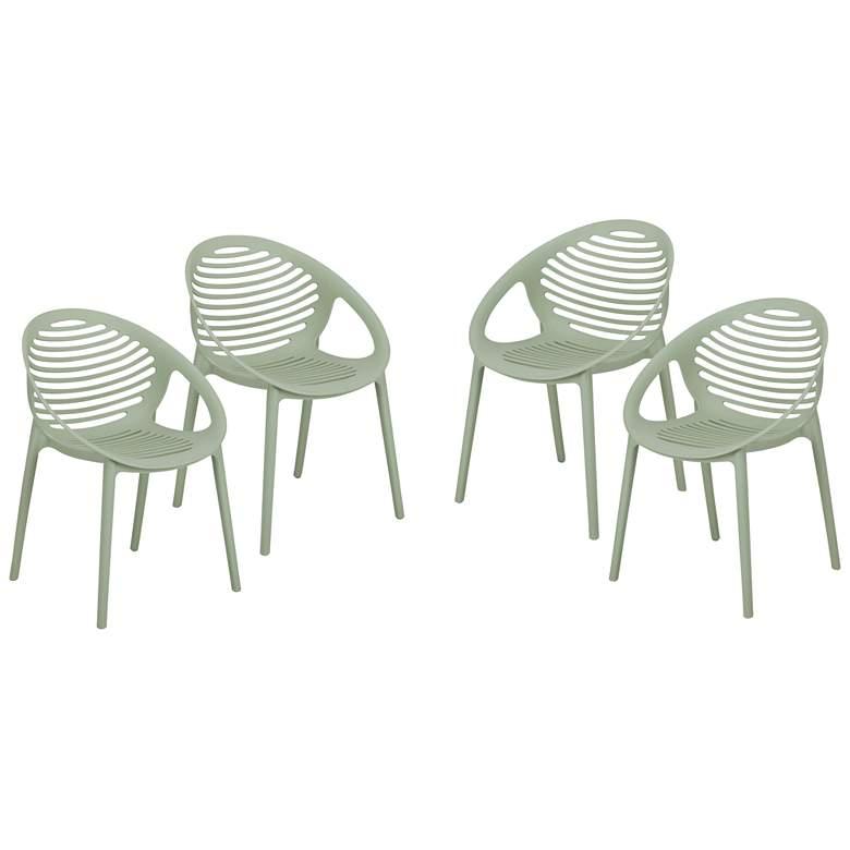 Lima Avocado Polypropylene Stacking Arm Chairs Set of