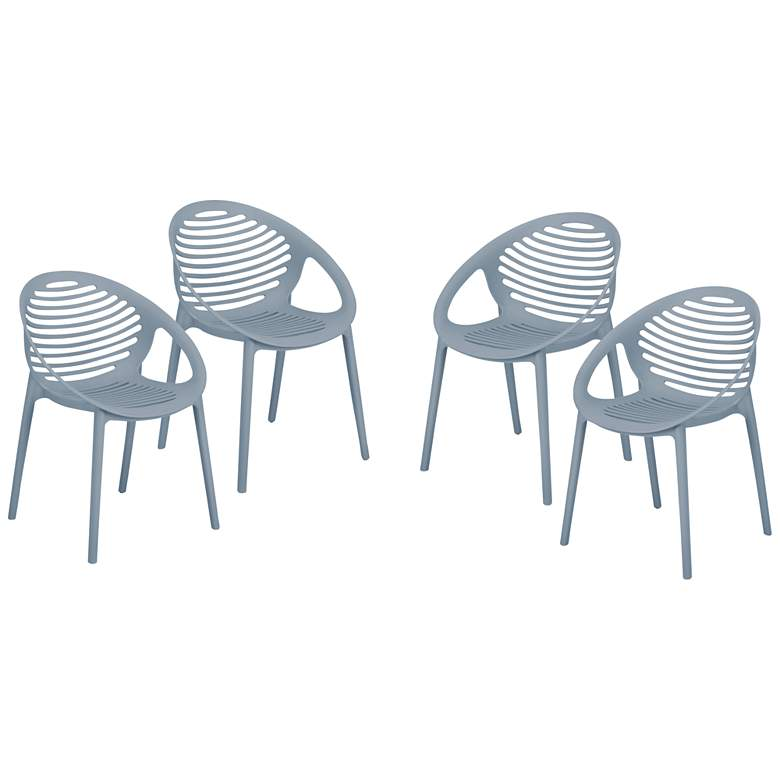 Lima Blue Polypropylene Stacking Arm Chairs Set of 4