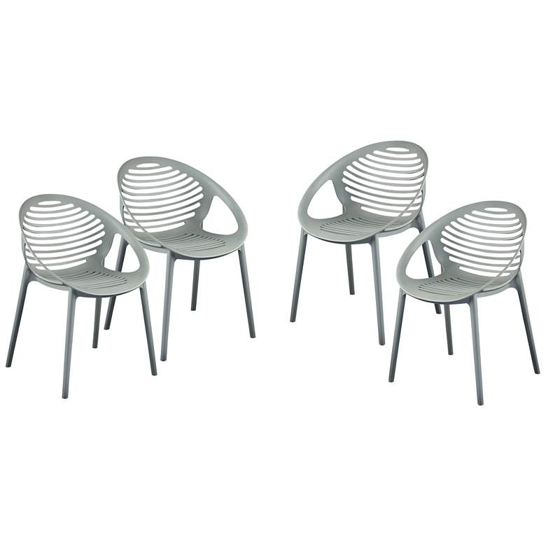 Lima Gray Polypropylene Stacking Arm Chairs Set of 4