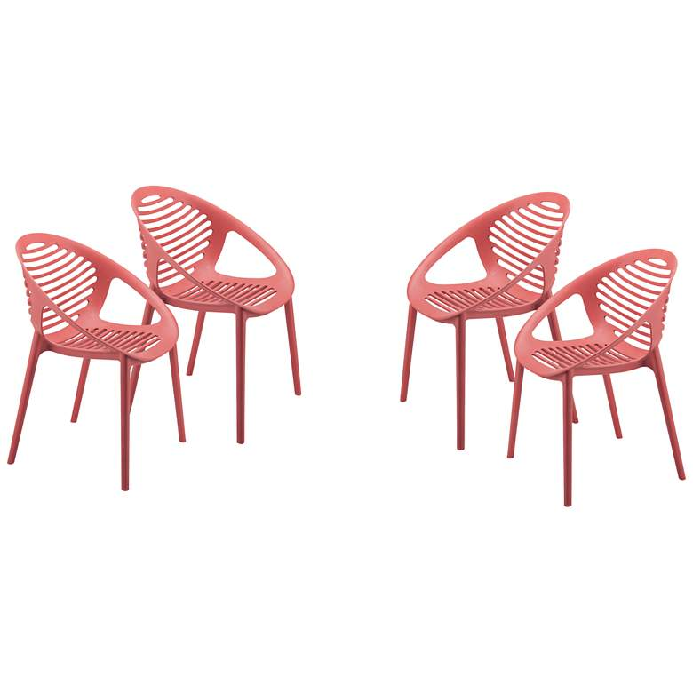 Tremendous Lima Red Polypropylene Stacking Arm Chairs Set Of 4 Gmtry Best Dining Table And Chair Ideas Images Gmtryco