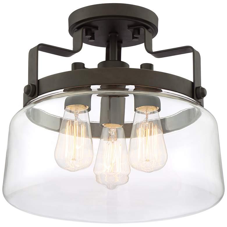 "Lucie 13 1/4"" Wide Bronze 3-Light Ceiling Light"