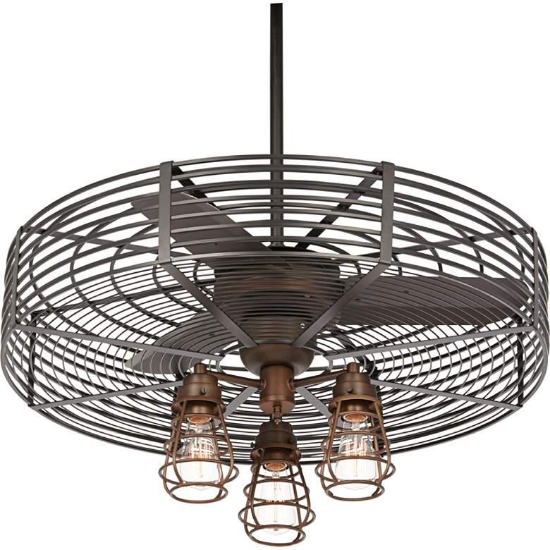 """32"""" Vintage Breeze AC Bronze Cage 3-Light LED Ceiling Fan"""