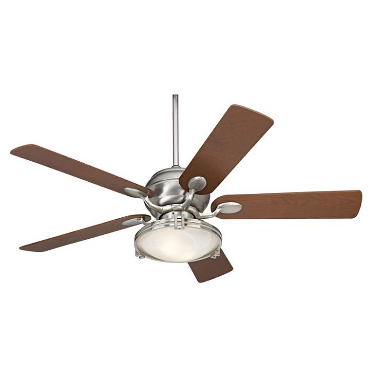 "52"" Casa Vieja Casa Optima Brushed Steel LED Ceiling Fan"