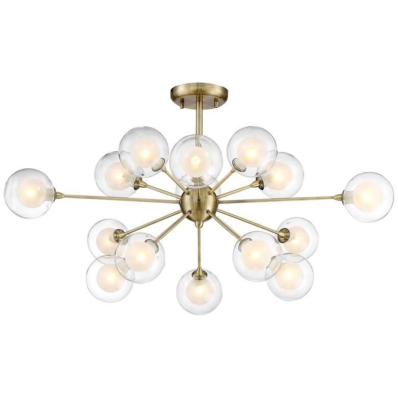 Possini Euro Design Glass and Brass 15-Light Ceiling Light