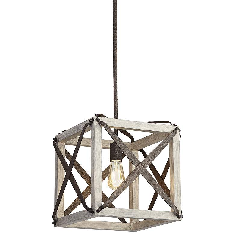 """Oaklyn 14"""" Wide Rust and Gray Wood LED Pendant Light"""
