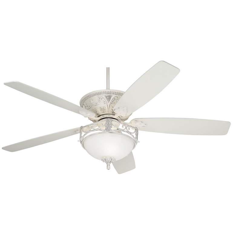 "60"" Casa Vieja Montego White Etched Glass LED Ceiling Fan"