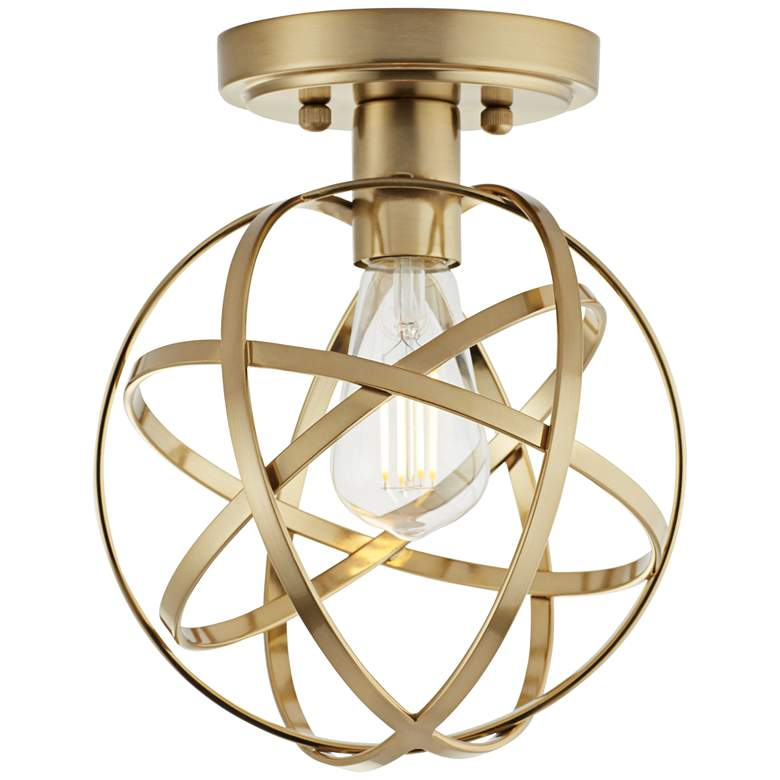 "Industrial Atom 8"" Wide Brass LED Ceiling Light"