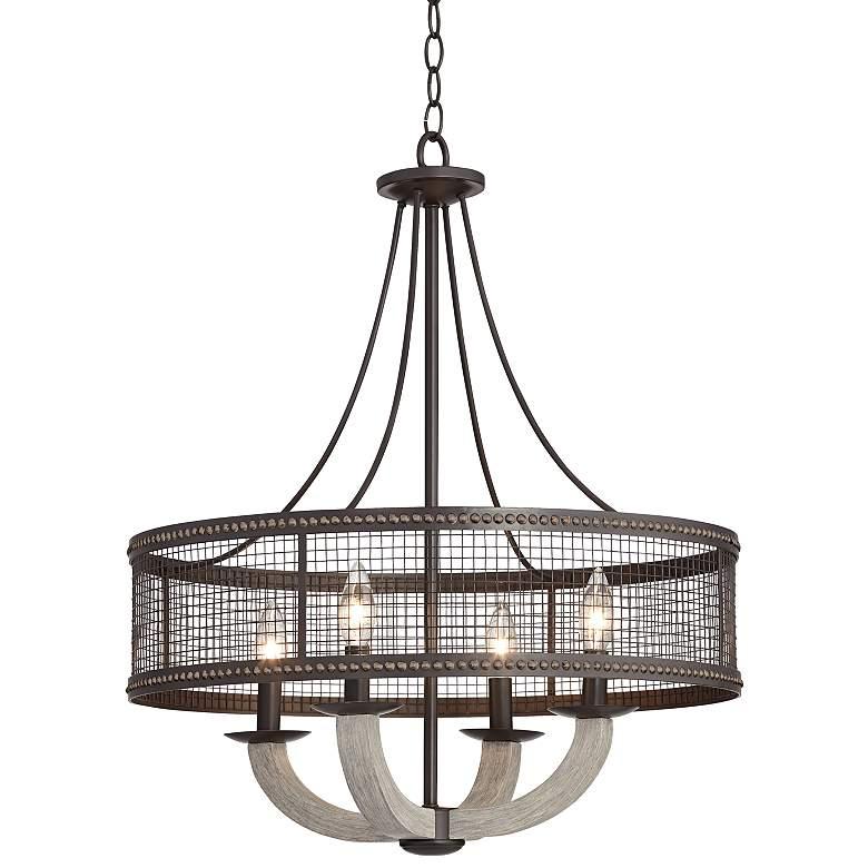"Harlen 22"" Wide Bronze and Gray Wood 4-Light Pendant"