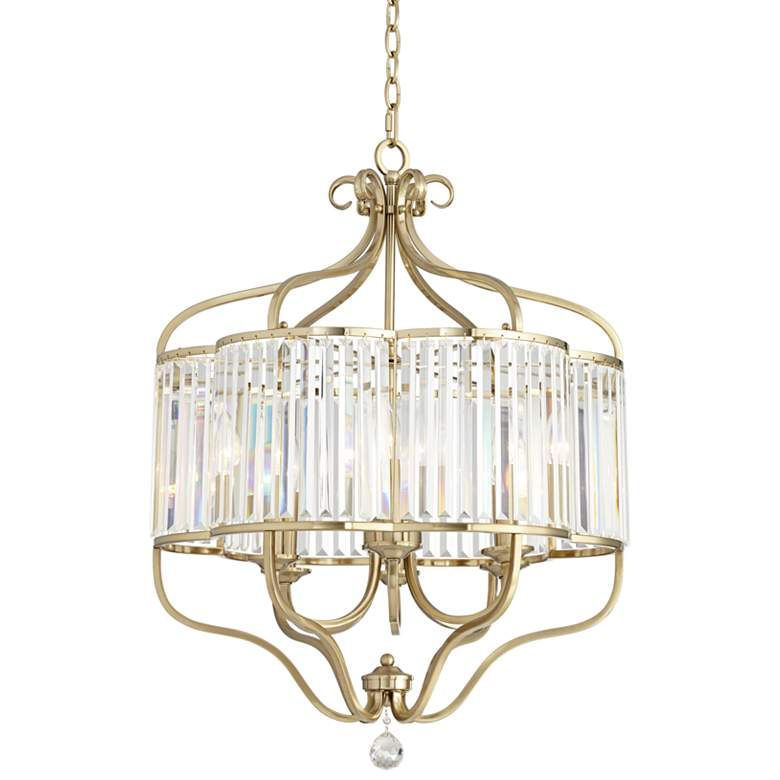 """Delacey 22"""" Wide 6-Light Gold and Glass Crystal Chandelier"""