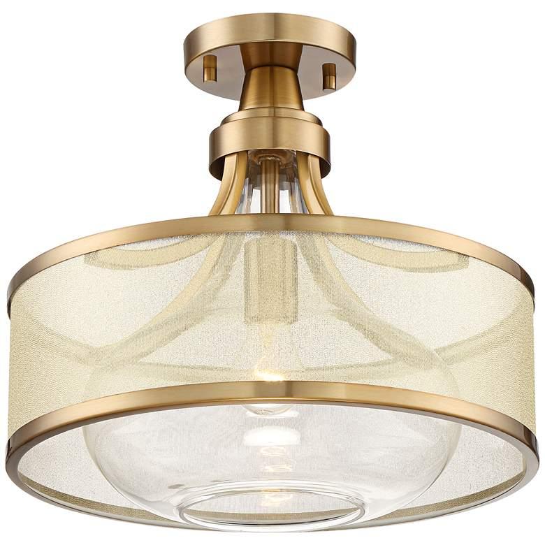 "Possini Euro Layne 15"" Wide Brass Ceiling Light"