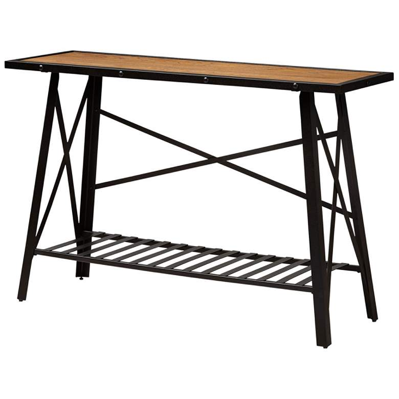 Baxton Studio Allaire Wood and Bronze Metal Console Table