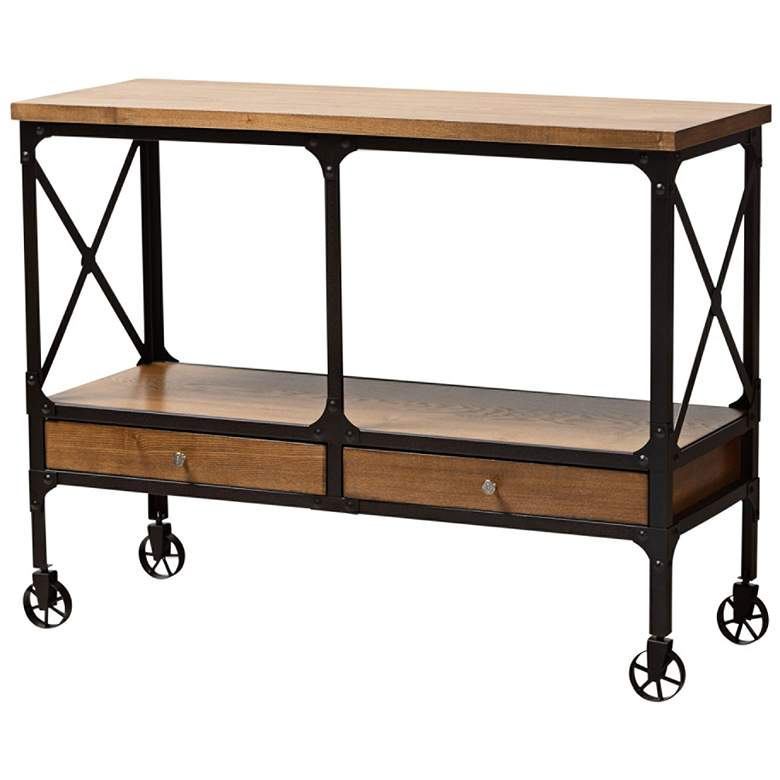 Alves Wood and Bronze Metal 2-Drawer Kitchen Island Table