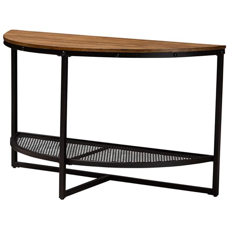 Baxton Studio Chesson Wood-Bronze Half Moon Console Table