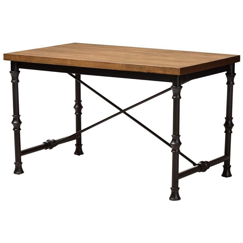 Baxton Studio Verdin Wood and Dark Bronze Criss-Cross Desk
