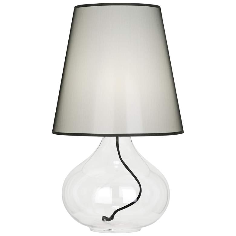 June Clear Glass Accent Table Lamp with Black Organza Shade