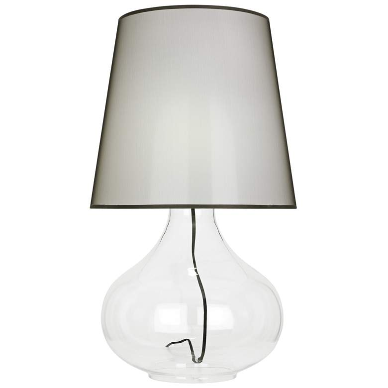 June Clear Glass Table Lamp with Black Organza Fabric Shade