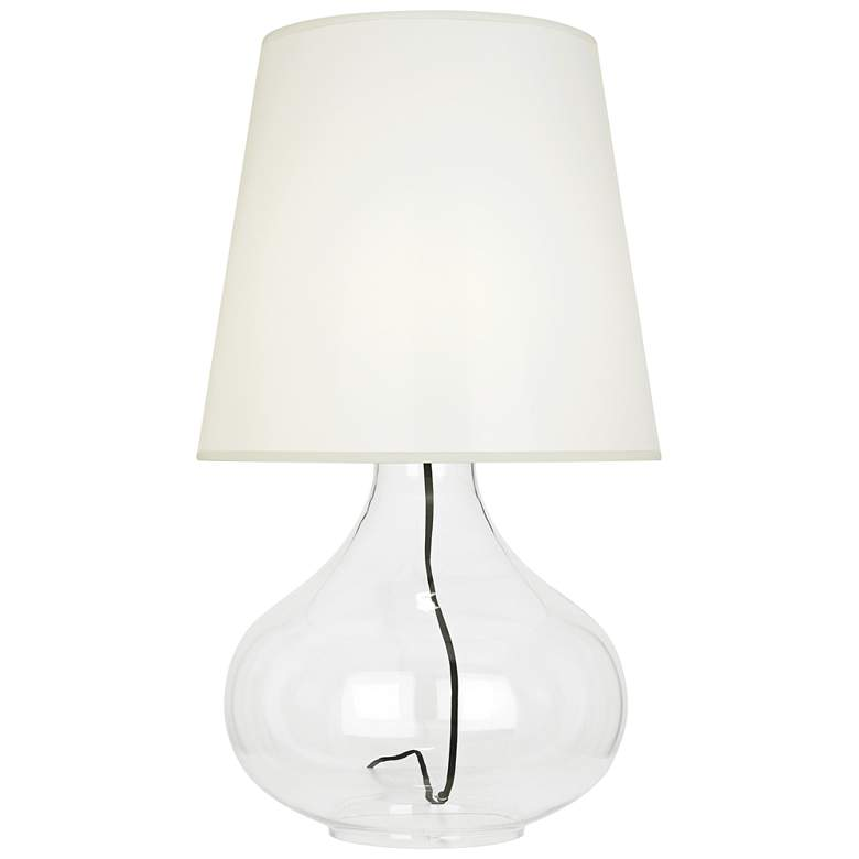 June Clear Glass Table Lamp with White Organza Fabric Shade