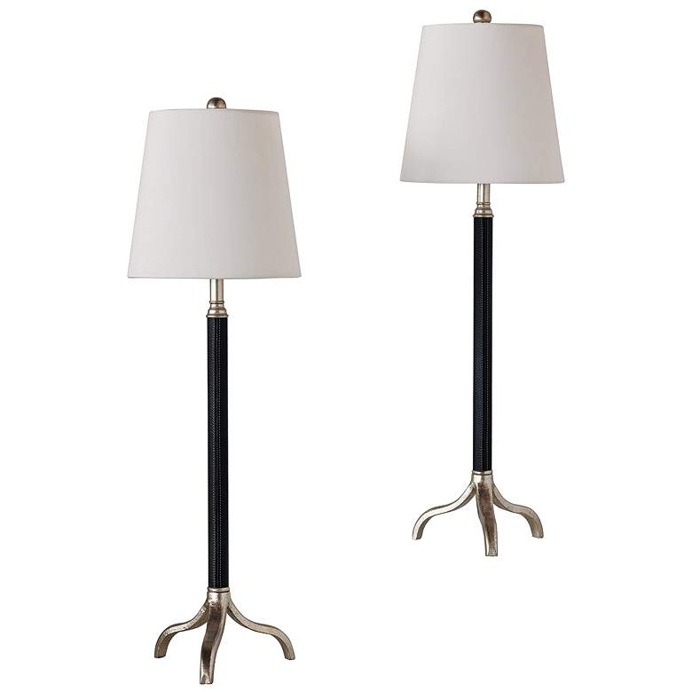 Portobello Black and Silver Buffet Table Lamp Set