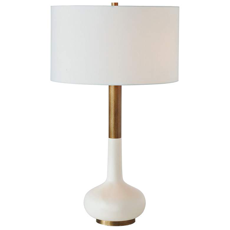 Port 68 Powell White Aged Brass Metal Neck Table Lamp