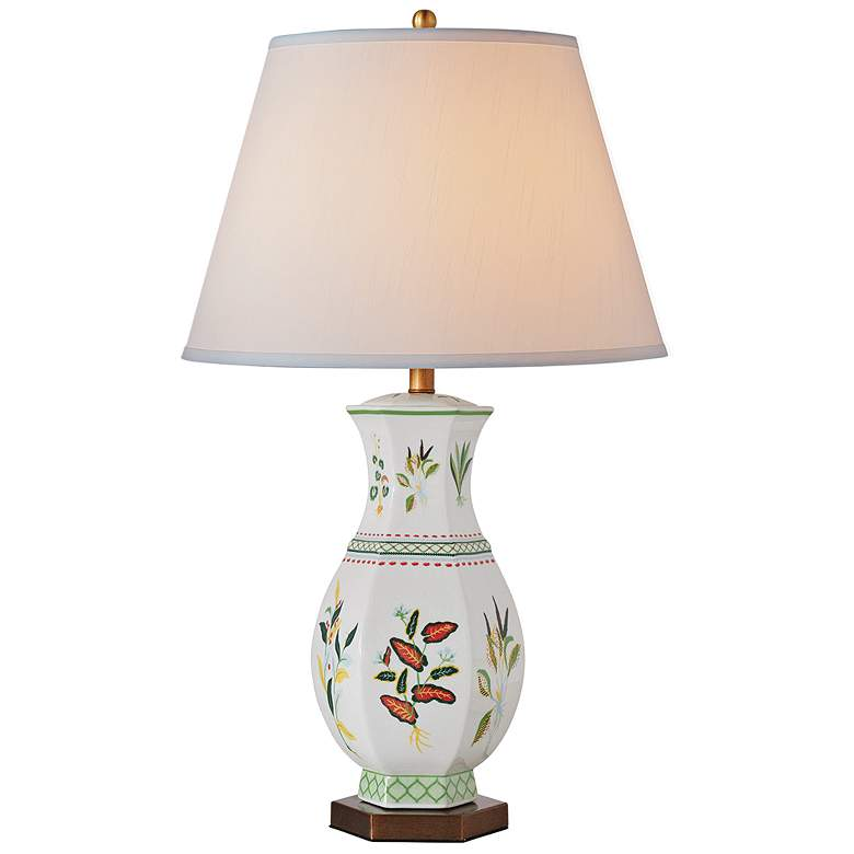 Port 68 Botanical Palm Hexagon Porcelain Table Lamp