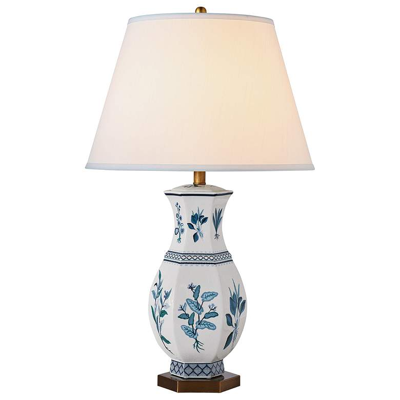 Port 68 Botanical Blue Hexagon Porcelain Table Lamp