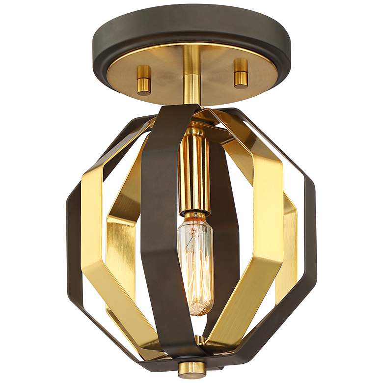"""Octo 7"""" Wide Warm Gold and Bronze Ceiling Light"""