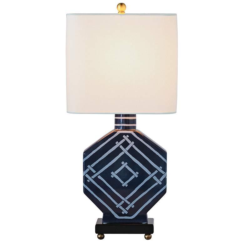 Port 68 Bamboozled Indigo Octagon Porcelain Table Lamp