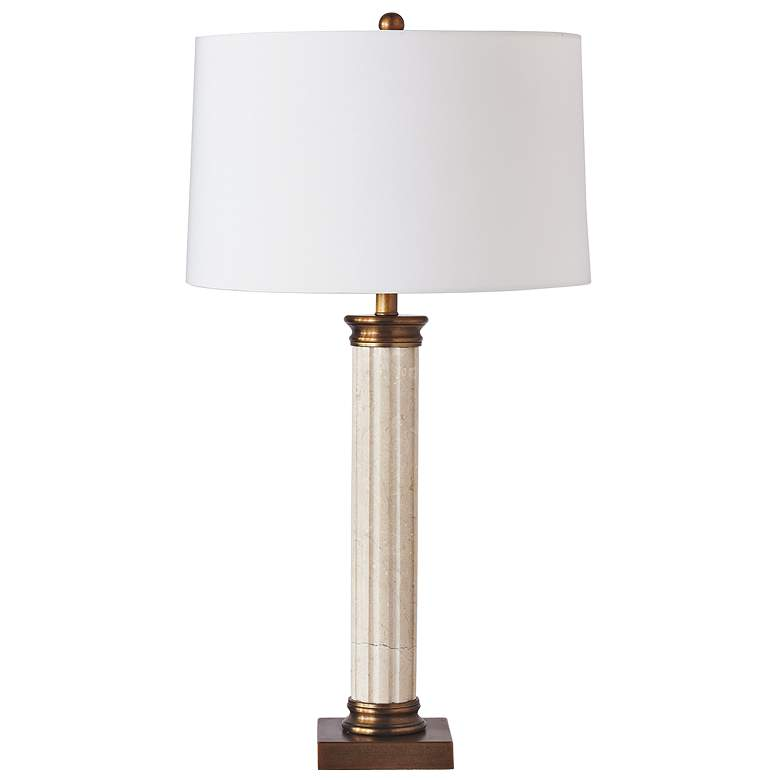 Port 68 Lincoln Park White Natural Marble Column Table Lamp