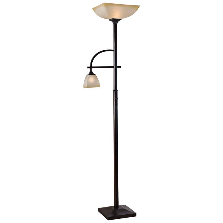 Arch Oil-Rubbed Bronze Mother and Son Torchiere Floor Lamp