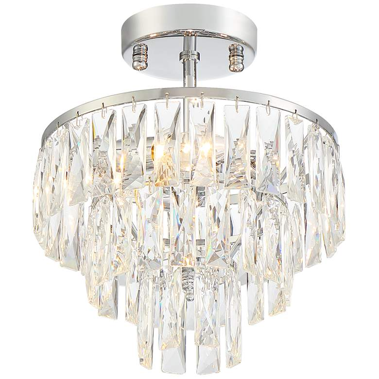 "Stott 11"" Wide Chrome and Crystal 3-Light Ceiling Light"