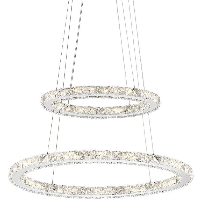 """Glenna 23 3/4"""" Wide Chrome 2-Ring LED Pendant Light"""