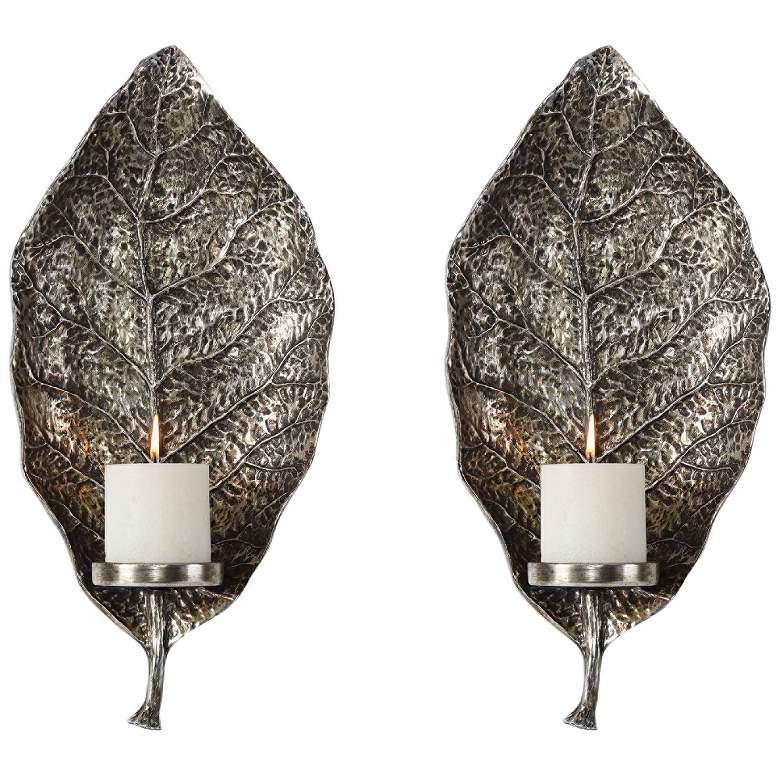 """Zelkova 19 1/2""""H Antiqued Silver Candle Wall Sconce Set of 2"""