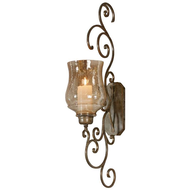 """Davinia 39 1/2"""" High Bronze Candle Holder Wall Sconce"""