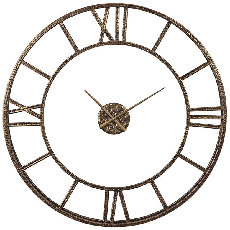 """Uttermost Mylah Antiqued Gold Iron 36"""" Round Wall Clock"""