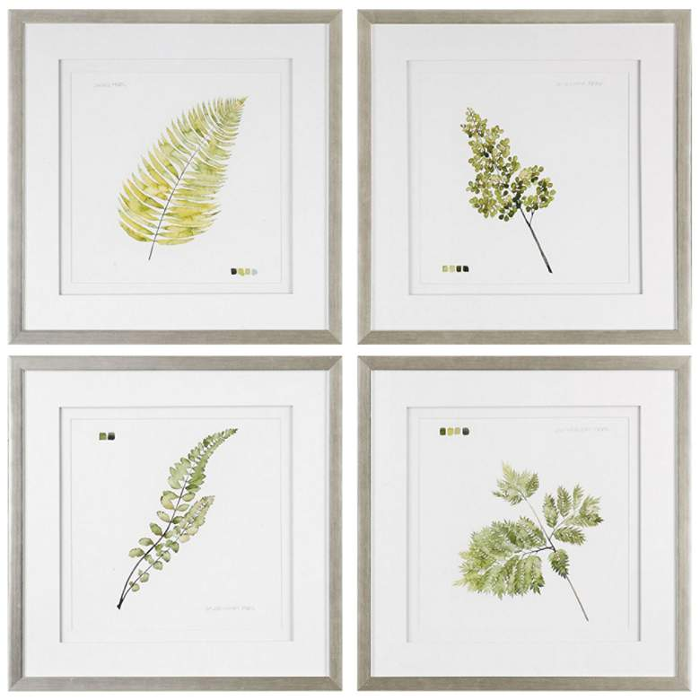 "Watercolor Leaf Study 28"" Square 4-Piece Framed Wall Art Set"