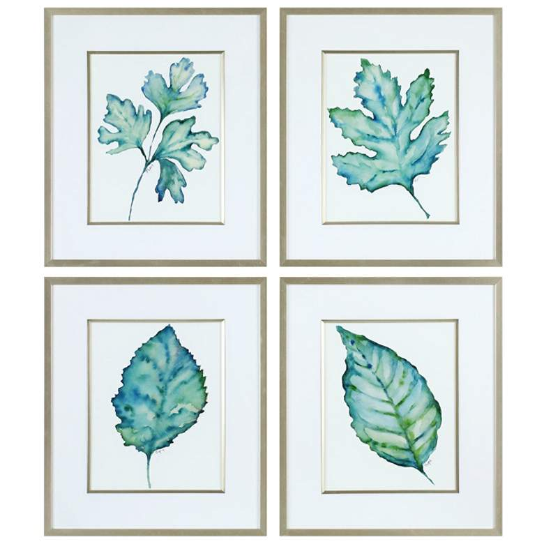 "Spring Leaves 27 1/2"" High 4-Piece Framed Wall Art Set"