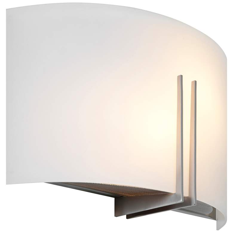 """Prong 7 1/2"""" High Brushed Steel Bath Light with White Shade"""