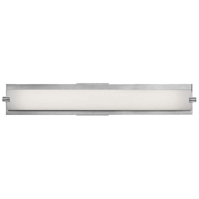 "Geneva 24 1/2"" Wide Brushed Steel Bath Light with Opal Shade"